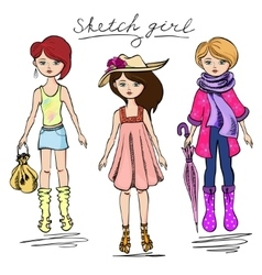 sketch girl in summer attire vector image