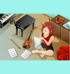 Songwriter with her violin vector