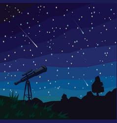 Stargazing falling stars natural landscape vector