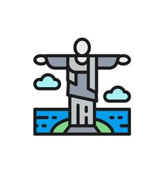 statue christ redeemer brazil vector image