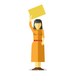 Striking woman holding empty yellow banner vector