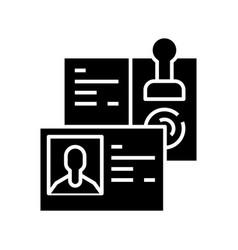 Taking id black icon concept vector