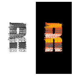 Tire track letter r vector