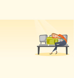 Tired woman sleeping on suitcase at the airport vector