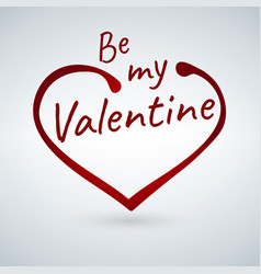 valentine s card with heart sign and be my vector image