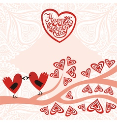 Valentines day card bird hearts vector image