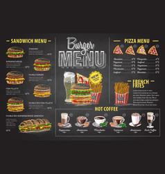 Vintage chalk drawing burger menu design vector