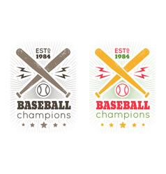 vintage emblem for baseball vector image