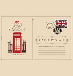 vintage postcard with london telephone booth vector image