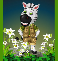 white zebra on top rock with white flower cartoon vector image