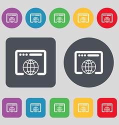Window icon sign A set of 12 colored buttons Flat vector