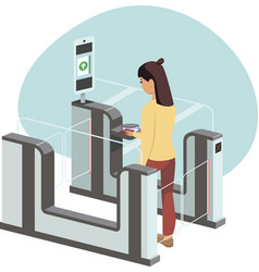 Woman passing through automated gates vector