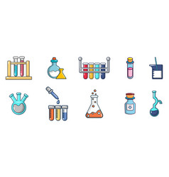 chemical pots icon set cartoon style vector image