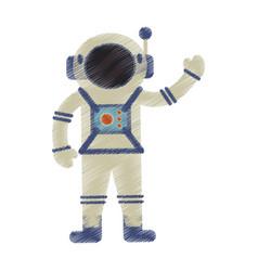 drawing astronaut spacesuit helmet antenna vector image