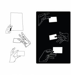hands holding cards vector image vector image