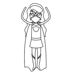 monochrome silhouette faceless of superhero woman vector image