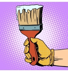 Painting brush in his hand vector