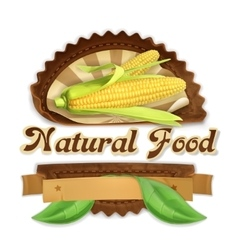 Ripe corn label design vector image vector image
