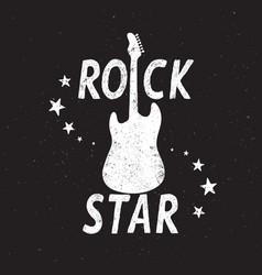 rock star grunge emblem with guitar vector image