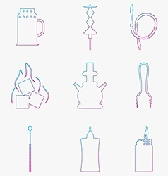 Contour gradient icons for hookah Accessories and vector image