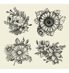 Flowers Hand drawn sketch flower floral pattern vector image vector image