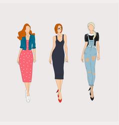 hand drawn fashion models concept vector image vector image