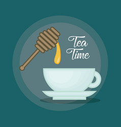 hot cup of tea sweeten with honey design vector image