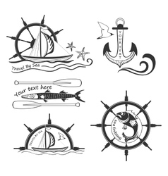 Labels marine theme hand drawing vector image vector image