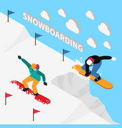 snowboarding track isometric composition vector image vector image