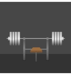 Barbell on bench vector image