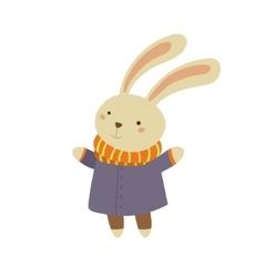 Bunny in Blue Warm Coat Childish vector image vector image