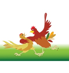Dance performed by the rooster and hen vector image vector image