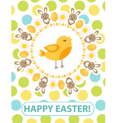 happy easter greeting card flyer poster with vector image vector image