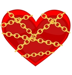 Heart in chain vector image vector image