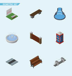 isometric city set of garden decor aiming game vector image vector image