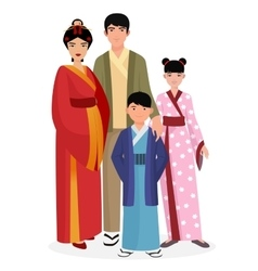 Japanese family Japanese man and woman with boy vector image vector image