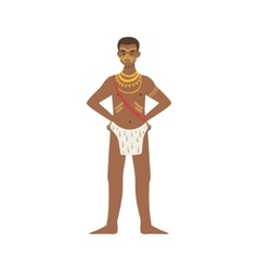 Man in loincloth from african native tribe vector