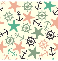 Seamless pattern of helm anchor starfish vector image
