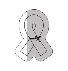 figure breast cancer ribbon defense icon vector image vector image
