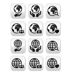 Globe earth with hands icons set with refle vector image vector image