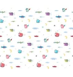 Monster Fly Fish seamless pattern for Kids Design vector image