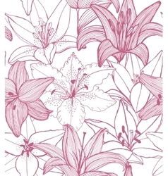 seamless lily background vector image
