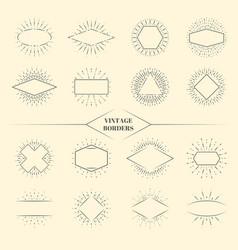 Vintage beauty sun rays borders or retro circles vector