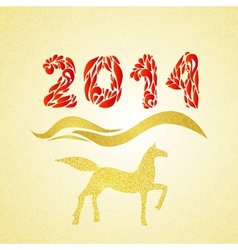 2014 new year gold horse silhouette vector