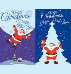 a set of postcards santa claus flying with a bell vector image