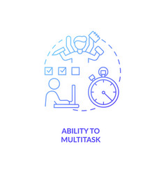Ability to multitask blue gradient concept icon vector