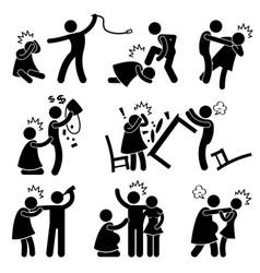 Abusive husband helpless wife stick figure vector