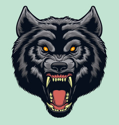 angry wolf face vector image