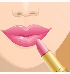 applying lipstick vector image