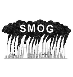 Artistic drawing of smoking smokestacks concept vector